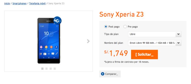 Precio del Xperia Z3 en Entel Perú