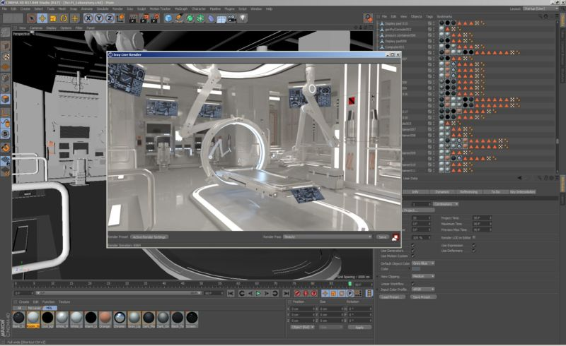 Iray for Cinema 4D application workspace
