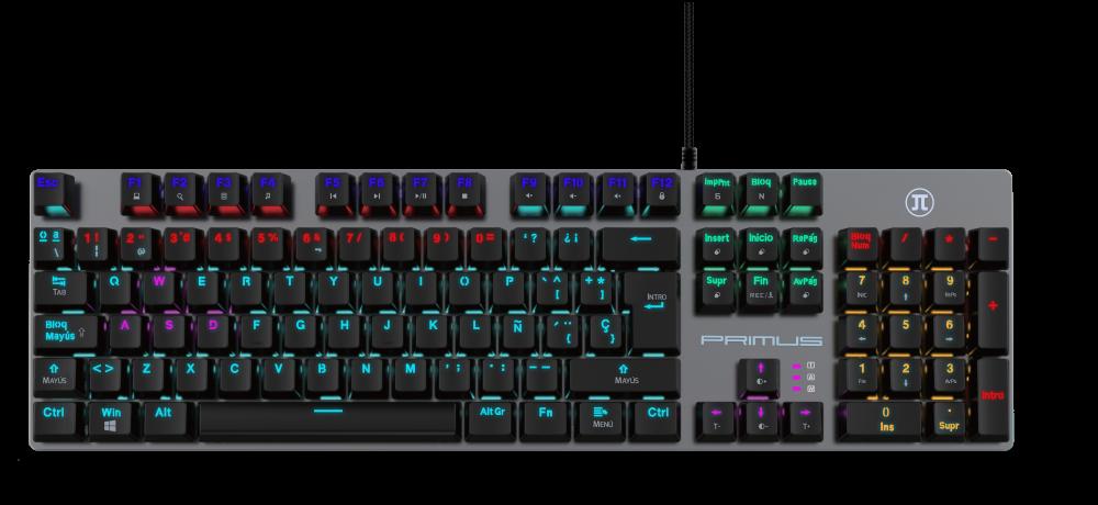 Vista frontal de teclado mecánico Primus