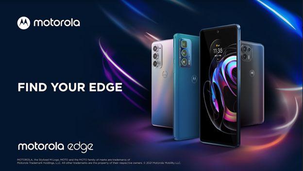 Foto de los 3 moto Edge 20 presentados por Motorola
